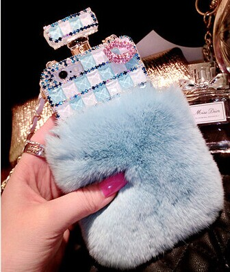 the latest 74be8 33084 Perfume Bottle Real Rabbit Hair Fur Case Cover For Iphone 6 6plus 5 5s 4 4s  , Samsung S3 S4 S5 Note 2,note 3